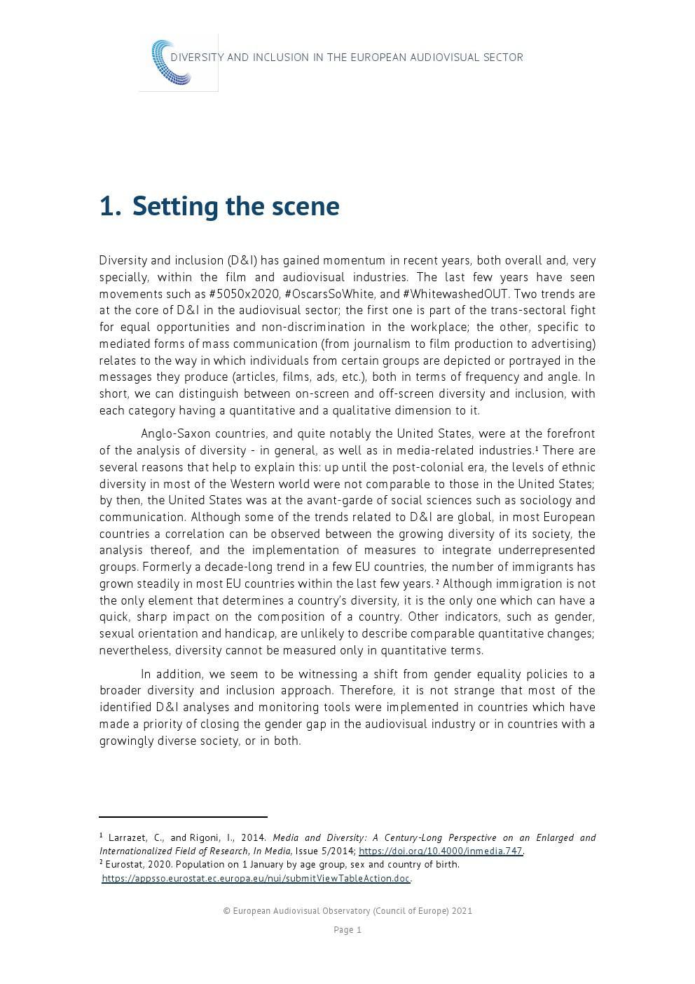 IRIS:2021年歐洲視聽行業多樣性和包容性報告