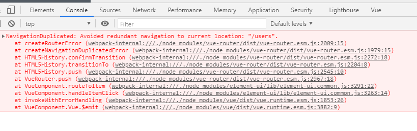 """Avoided redundant navigation to current location: """"/users"""""""