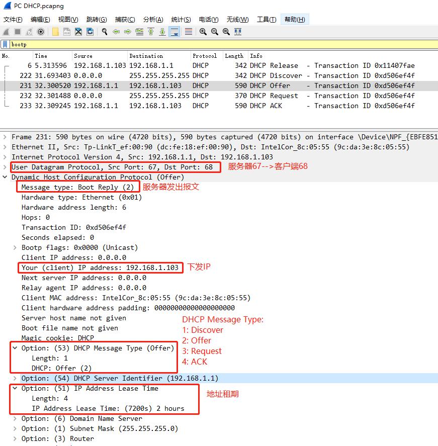 DHCP協議工作流程分析