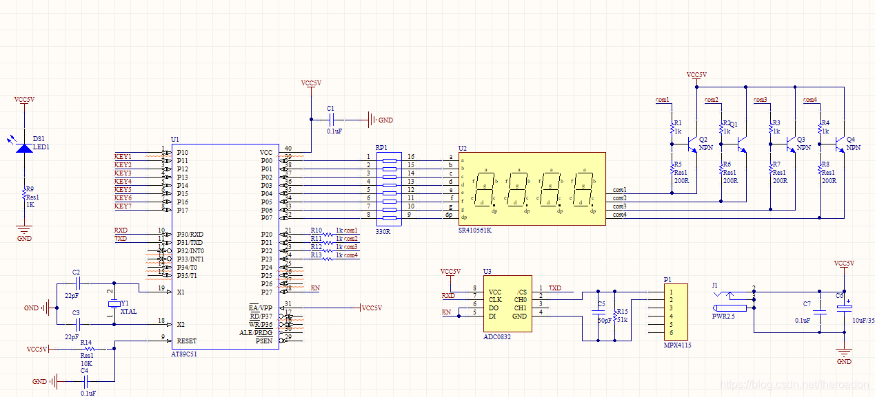 650【畢設課設】基於微控制器大氣壓監測報警系統電路方案設計