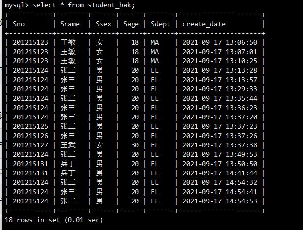 mysql觸發器實時檢測一條語句進行備份刪除