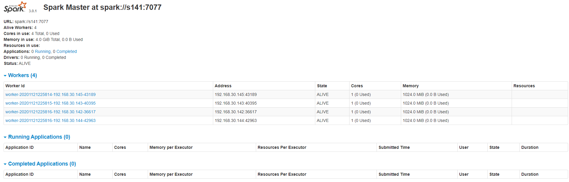 Spark3.0.1各種叢集模式搭建