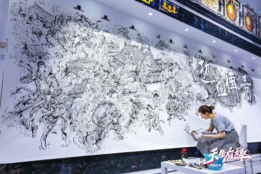 2020ChinaJoy盛趣遊戲玩花活:冷兵器武士出擊 傳奇20週年巨幅壁畫引圍觀