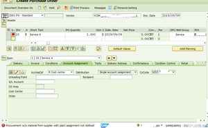 SAP MM 不能向被分配了工廠程式碼的供應商採購服務?
